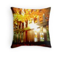 Fall Picket Fence Color Throw Pillow