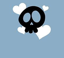 Skull and Hearts on Blue by DeliriumLina