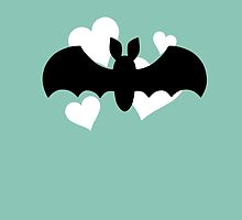 Bat and Hearts on Teal by DeliriumLina
