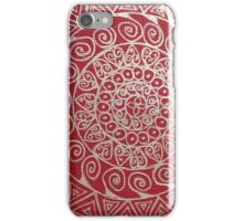 Mandala red and silver iPhone Case/Skin