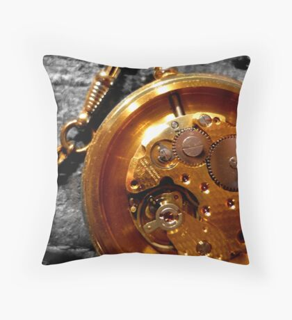 Time piece and suede Throw Pillow