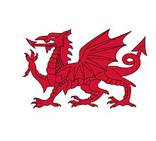 Red Welsh Dragon - Flag of Wales - Sport T-Shirt Sticker Bedspread Duvet Photographic Print