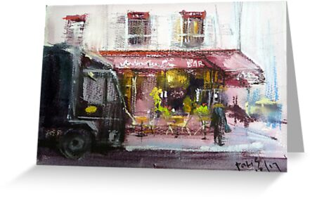 Sketching of Paris...red cafe by vasenoir