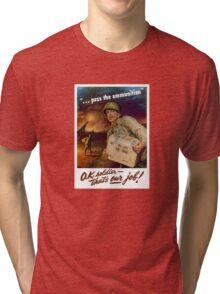 Pass The Ammunition - WWII Propaganda Tri-blend T-Shirt