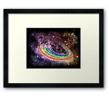 Sir Piggy Ridin' On A Rainbow Through Space Framed Print
