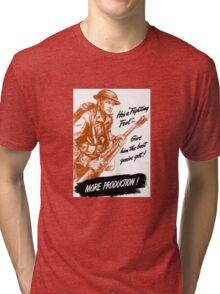 He's A Fighting Fool - WWII Propaganda Tri-blend T-Shirt