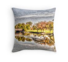 Boating on the Yahara Throw Pillow