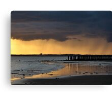 Dramatic sky at Gyles Quay, Co Louth Canvas Print
