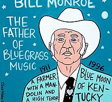 Bill Monroe Bluegrass Pop Folk Art by krusefolkart