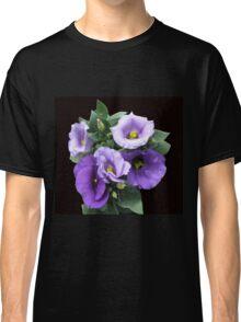 Sunlit Purple Lisianthus on Black Background Classic T-Shirt