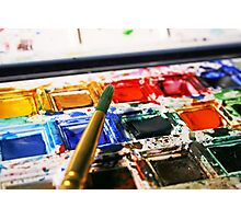 Watercolour Paints and Brush Photographic Print