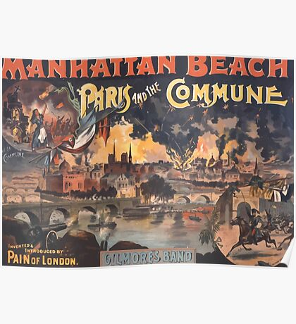 Poster 1890s Pain of London fireworks Paris and the Commune performance poster Manhattan Beach New York 1891 Poster