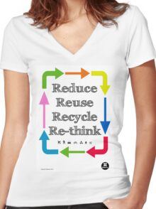 Reduce reuse recycle re-think Women's Fitted V-Neck T-Shirt