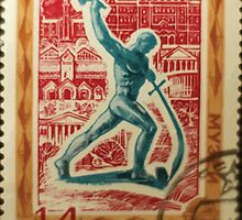 Foreign Tourism series in The Soviet Union 1970 CPA 3941 stamp Museums Let Us Beat Swords into Plowshares Sculpture by Yevgeny Vuchetich and Museums cancelled  USSR by wetdryvac