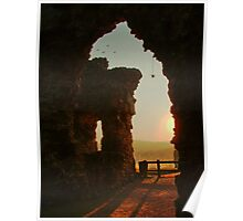 Sun Setting over Denbigh Castle, North Wales, UK Poster