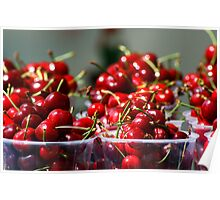 Baskets of shiny red fresh cherries Poster