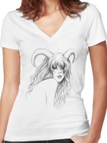 Aries Women's Fitted V-Neck T-Shirt