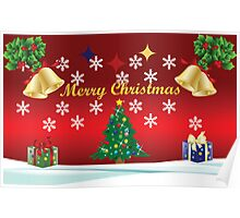 Merry Christmas Card with Tree Poster