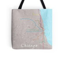 Watercolor Chicago L map Tote Bag