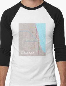 Watercolor Chicago L map Men's Baseball ¾ T-Shirt