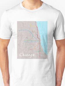 Watercolor Chicago L map T-Shirt