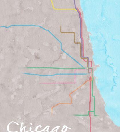 Watercolor Chicago L map Sticker