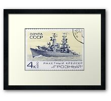 The Soviet Union 1970 CPA 3910 stamp Missile Cruiser Groznyj cancelled USSR Framed Print