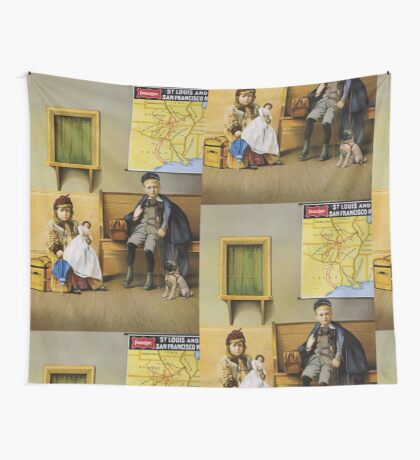 Poster 1890s Boy and girl in SLSF waiting room 1899 Wall Tapestry