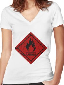 Flammable warning symbol Women's Fitted V-Neck T-Shirt
