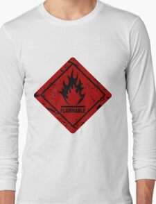 Flammable warning symbol Long Sleeve T-Shirt
