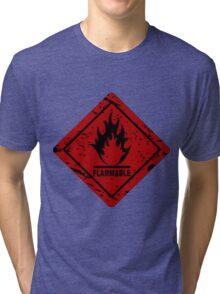 Flammable warning symbol Tri-blend T-Shirt