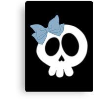 Bow Skull Blue Canvas Print