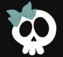 Bow Skull Teal Kids Tee