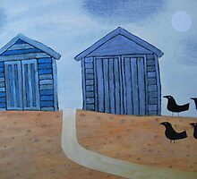 Beach Huts and Crows, Winter by Amanda White