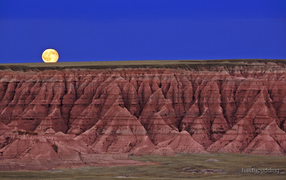 Harvest Moon Over The Badlands-Badlands National Park, SD by hastypudding