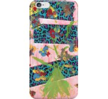 Bold Leopard Print Bright Floral Mixed Media iPhone Case/Skin