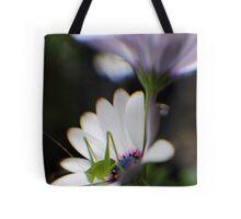 Grasshopper on White Daisy Tote Bag