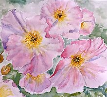 Delicate pink poppies by ArtbyInese2015