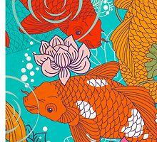 Japanese Koi Carp Fish - Square 1 by Dacdacgirl