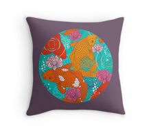 Japanese Koi Carp Fish - Circle 1 Throw Pillow