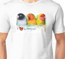 Black masked fischer Lutino peach faced lovebird Unisex T-Shirt