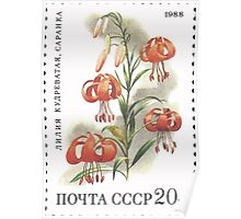 Flowers Soviet Union stamp series 1988 CPA 5968 USSR Poster
