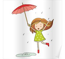 Little girl with an umbrella Poster