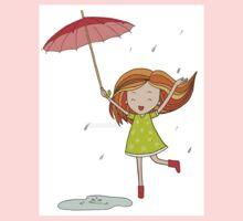 Little girl with an umbrella One Piece - Long Sleeve