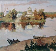 """""""Evening Bells"""". The copy  from picture of Levitan by Alla Melnichenko"""