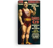 Poster 1890s Louis Cyr strongest man on earth 1898 Canvas Print
