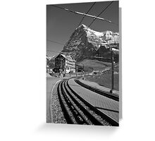 Kleine Sheidegg and The Mighty Eiger North Face Greeting Card