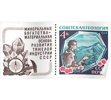 The Soviet Union 1968 CPA 3681 stamp with label Prospecting Geologist with Found Diamond and Red Crystals Pyropes Garnets with label USSR Poster