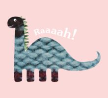 Dinosaur Fabric Collage - Raaah! One Piece - Long Sleeve