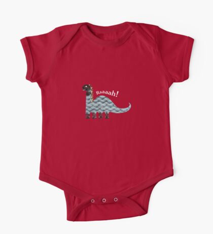 Dinosaur Fabric Collage - Raaah! One Piece - Short Sleeve